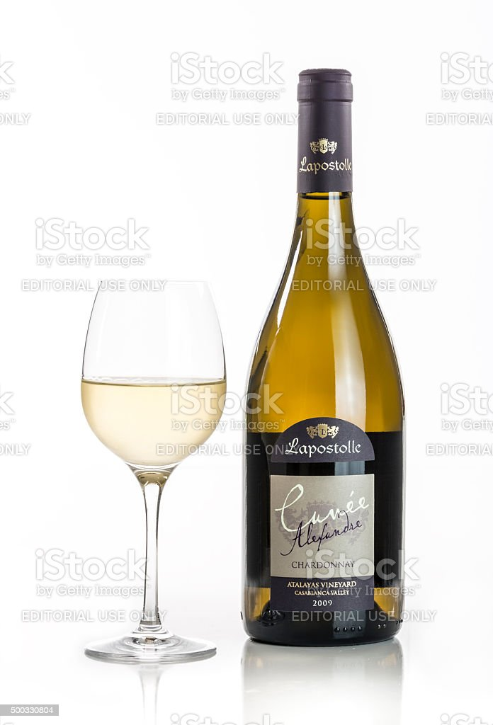 Cuvée Alexandre Chardonnay With Glass stock photo