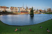 istock Cuxhaven old harbor town lake with xmas tree 624627672