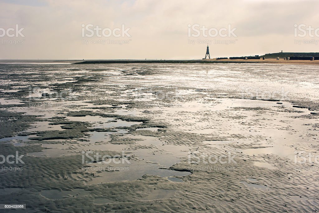 Cuxhaven, Wadden Sea and the Kugelbake stock photo