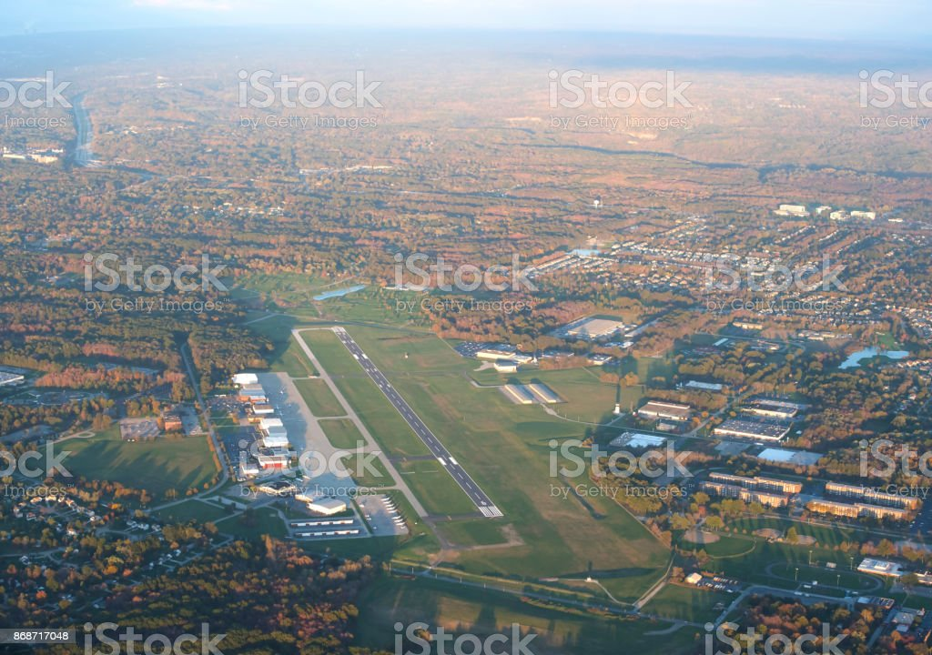 Cuyahoga County Airport (Cleveland) (CGF) as seen from the sky stock photo