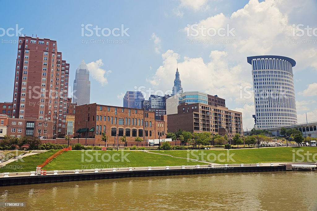 Cuyahoga River in Cleveland stock photo