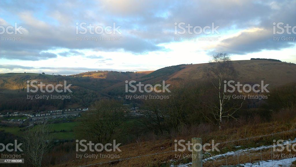 Cwmfelinfach Valleys Wales Cover In Snow stock photo