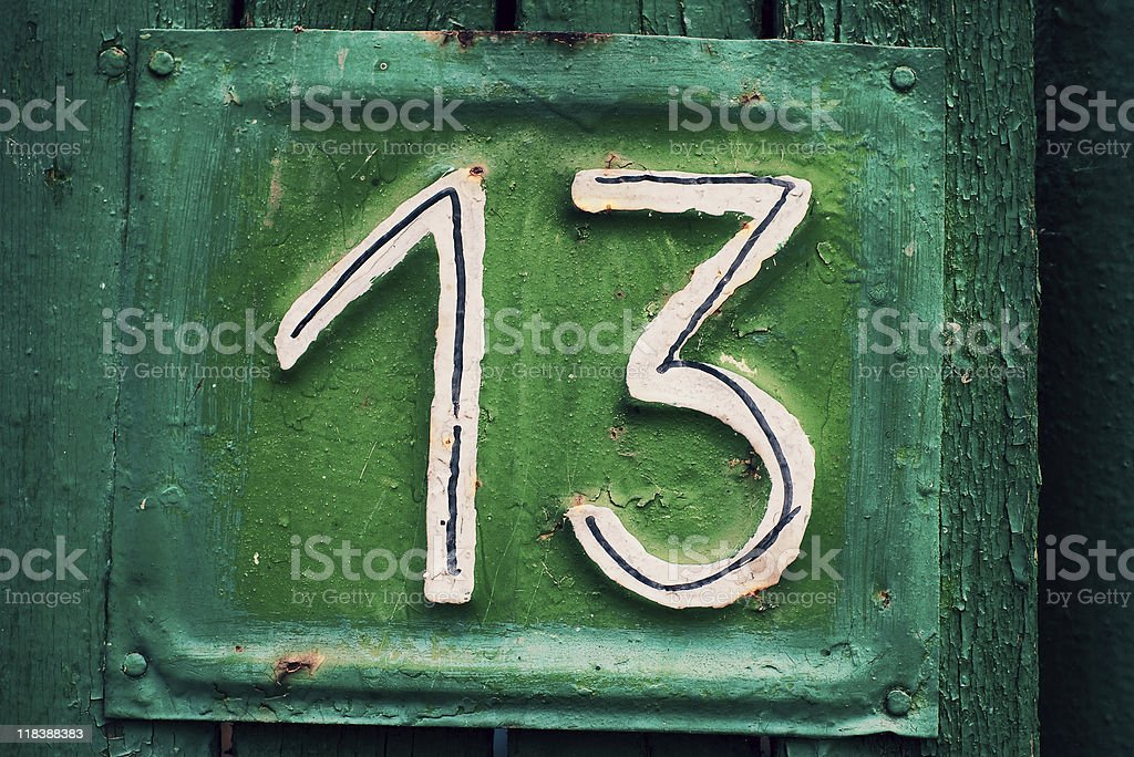 cyan and green house plate number 13 royalty-free stock photo