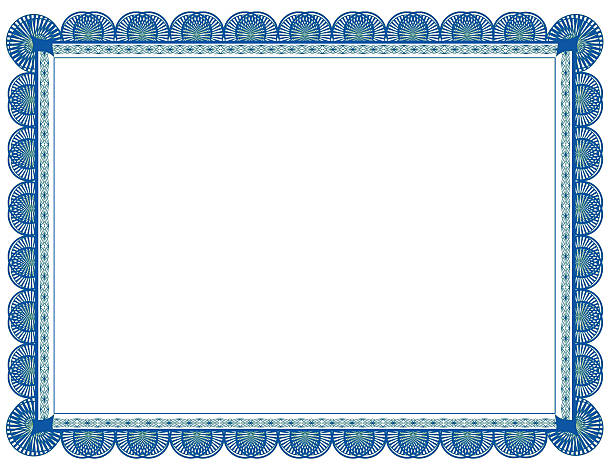 cyan and green two toned document frame, suitable for printing - certificate stock photos and pictures