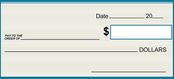 Cyan and Grey Blank Prize Check stock photo