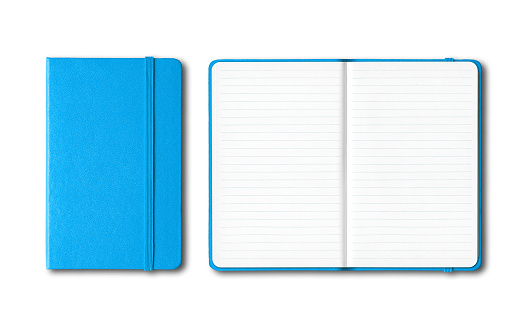 Cyan blue closed and open lined notebooks isolated on white