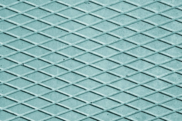 Cyan color cement floor with rhombus pattern. stock photo