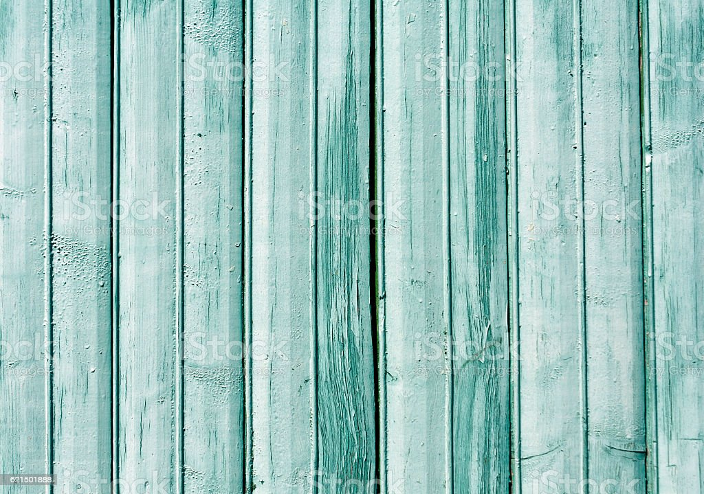 Cyan color old wooden fence texture. foto stock royalty-free