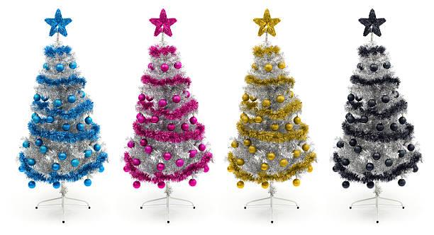Cyan, magenta, yellow and black christmas trees