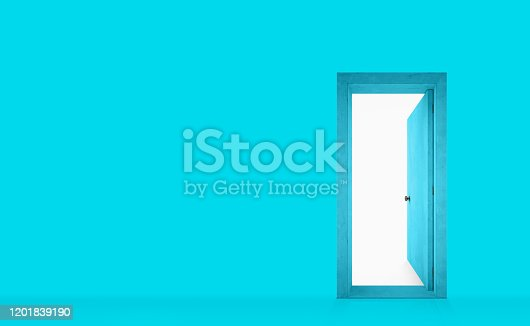 Entry and exit door into a cyan colored room