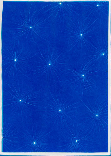 cyanotype of dandelion blow stock photo