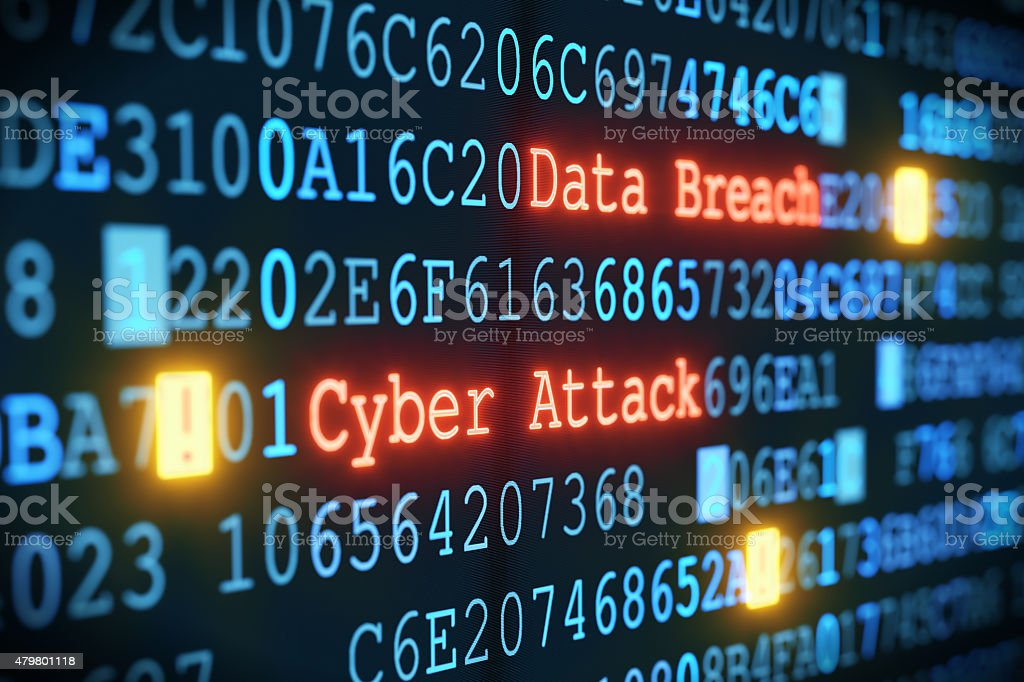 Cyber Attack A02 A close-up on an abstract design of a display, which is warning about a cyber attack. Multiple rows of hexadecimal code are interrupted by red glowing warnings and single character exclamation marks. The image can represent a variety of threats in the digital world: data theft, data leak, security breach, intrusion, etc... 2015 Stock Photo