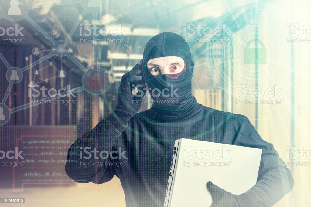Cyber attack and data security concept stock photo