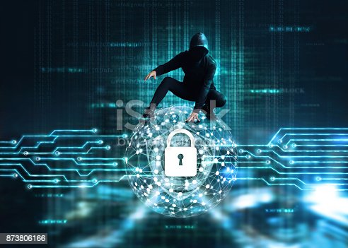 istock Cyber Attack concept, Cyber crime hacker on circle global network with lock icon and shield inside, a code digital on dark background 873806166