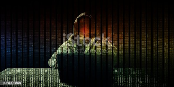 Cyber Attack Online with Hacker Accessing Stolen Data