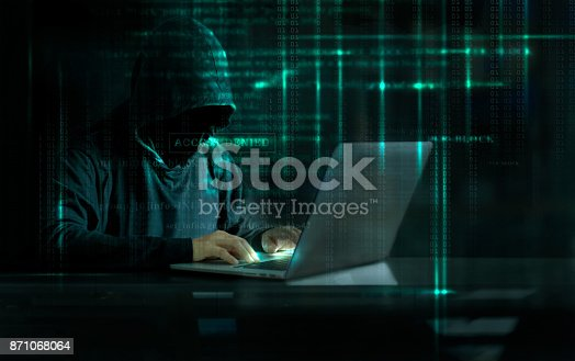 istock Cyber Attack Hacker using computer with code on interface digital dark background. Security System and Internet crime concept. 871068064