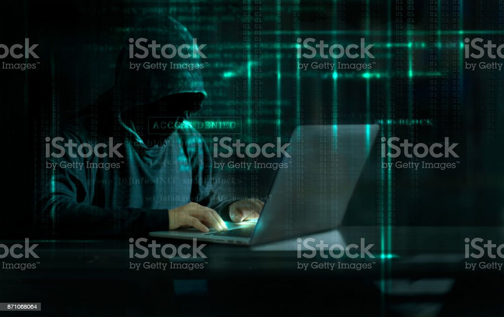 Cyber Attack Hacker using computer with code on interface digital dark background. Security System and Internet crime concept. stock photo
