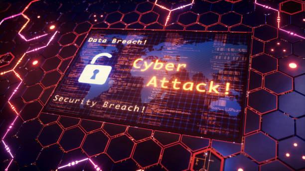 ハニカム上のサイバー攻撃警告メッセージ - サイバー犯罪 ストックフォトと画像