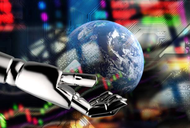 Comunicación cibernética, robot world, asesor Fintech y robo en bolsa finanzas concept.3d rendering mano Robot tierra equipada por la NASA con el gráfico de Resumen balance gráfico circuito eléctrico. - foto de stock