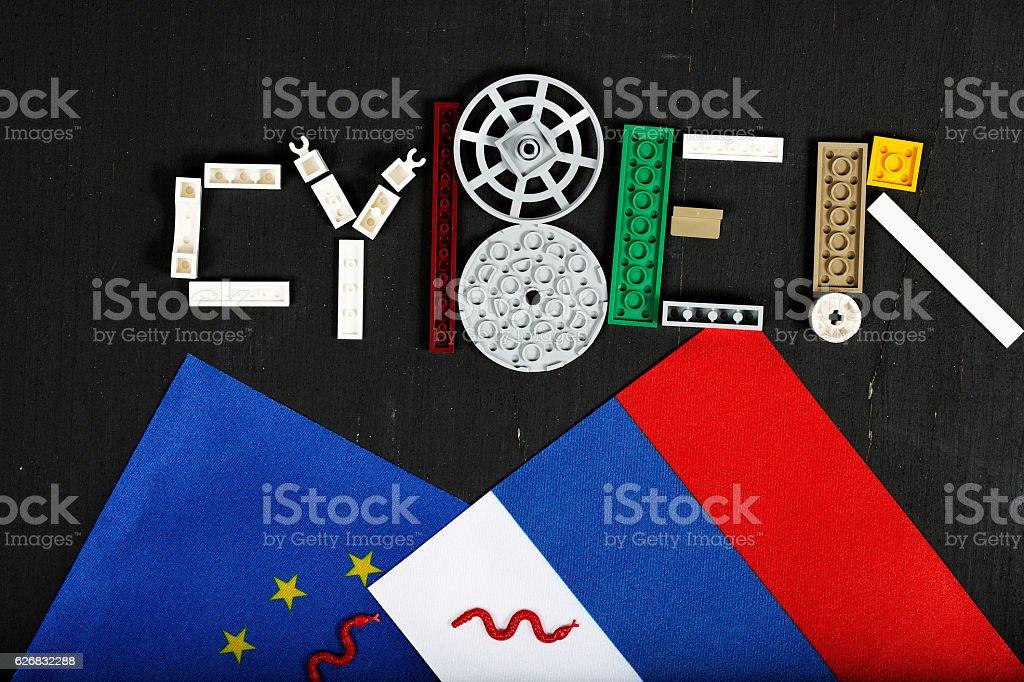 Cyber composed of plastic blocks stock photo