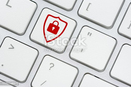 812847754 istock photo Cyber crime and cyber security concept : Red shield and a pad lock on computer keyboard button, depicts protection and prevent cyber attack from attacker or a hacker who attempt to access on a system 1172746372