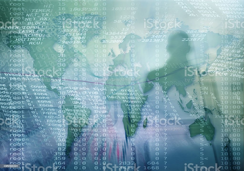 Cyber crime Silhouette of a hacker with binary codes and world map on background. Online security concept 2015 Stock Photo