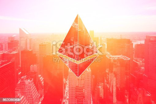 istock cyber crypto currency on business buildings landscape, composed image on vintage red, success business concepts 862086968