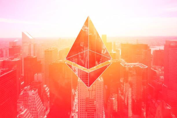 paysage de monnaie crypto cyber sur des immeubles commerciaux, image composée sur des concepts d'affaires succès vintage rouge, - éther photos et images de collection