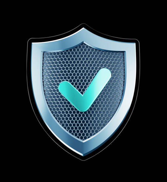 Cyber Defense Metallic shield designed in 'techno style' isolated on black background. 3D rendering graphics. shielding stock pictures, royalty-free photos & images