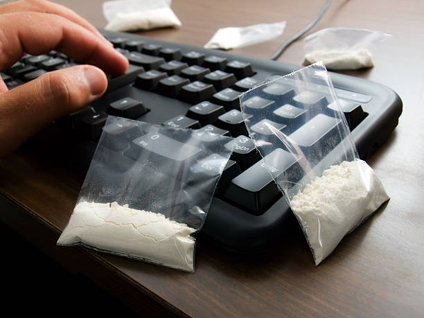 Cyber drug dealer stock photo