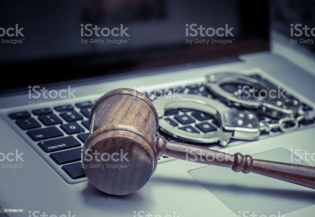 Cyber hack law concept image stock photo