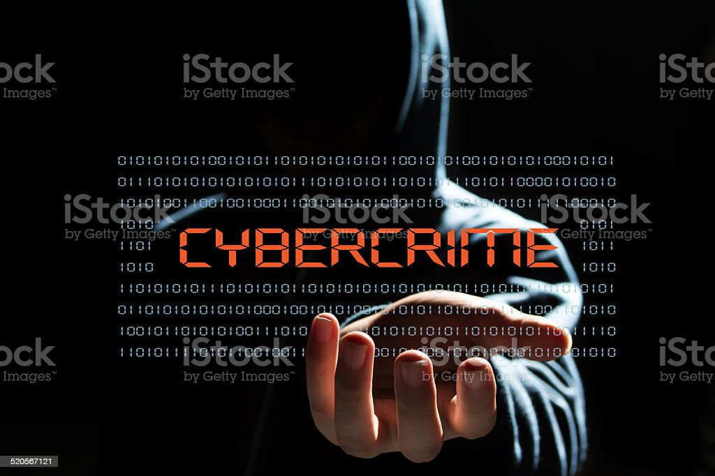 cyber hacker with cyber crime  text icon stock photo