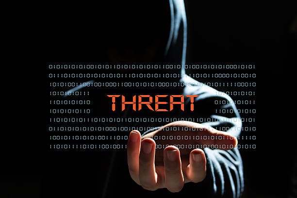 cyber hacker with  threat text icon cyber hacker concept threats stock pictures, royalty-free photos & images