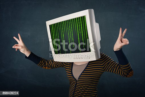 istock Cyber human with a monitor screen and computer code on the display 898409224