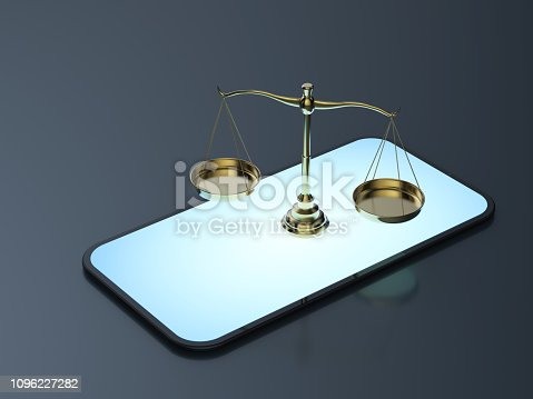Cyber law or internet law concept with 3d rendering law scale on mobile phone