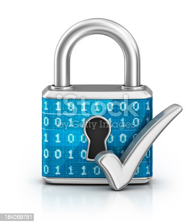 istock cyber locked padlock and check mark 184269751