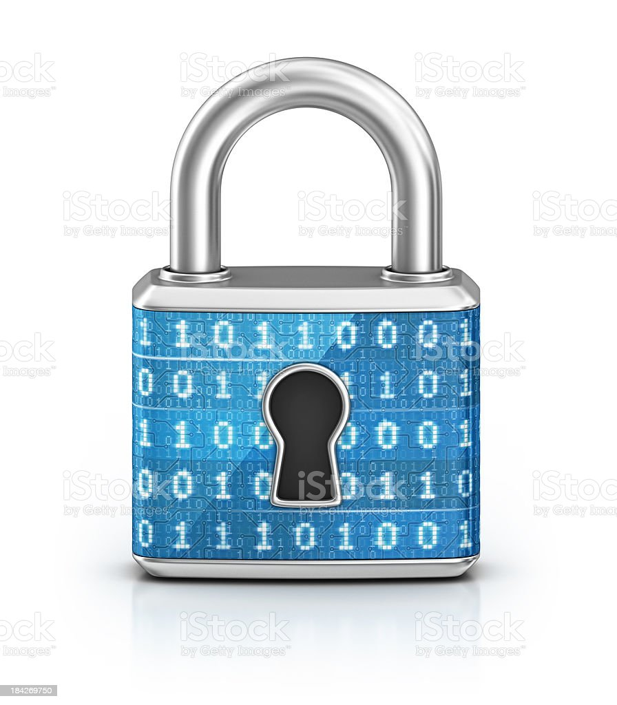cyber locked padlock stock photo