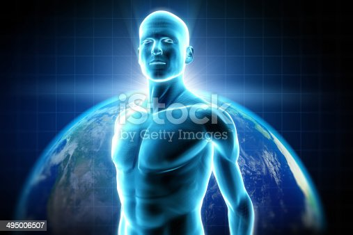 istock Cyber man and Earth 495006507