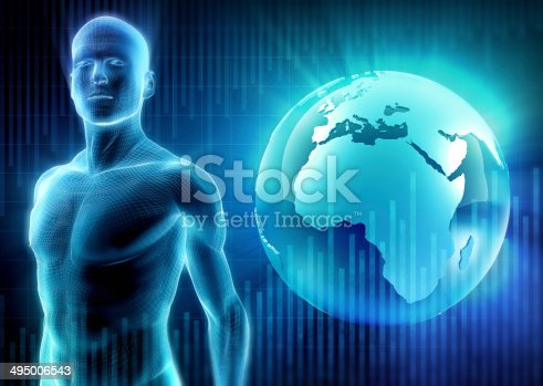 istock Cyber man and Earth 495006543