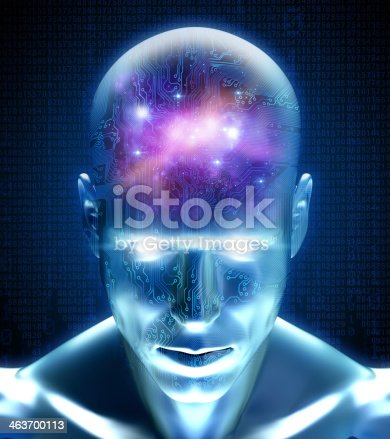 istock Cyber man with circuits and space inside his mind 463700113