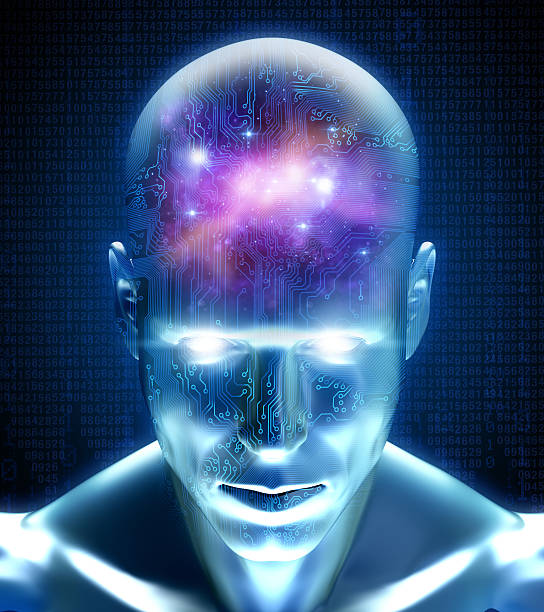 cyber man with circuits and space inside his mind - earth from space bildbanksfoton och bilder