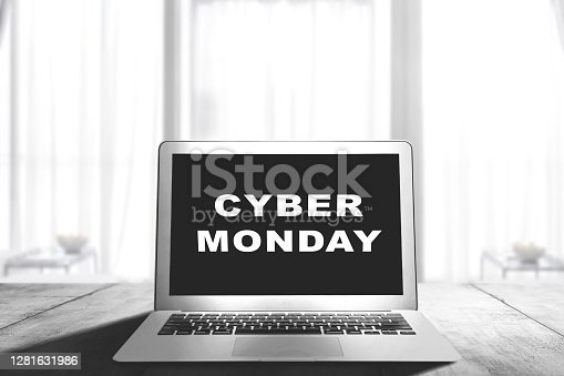 istock Cyber Monday advert on the laptop screen on the desk 1281631986