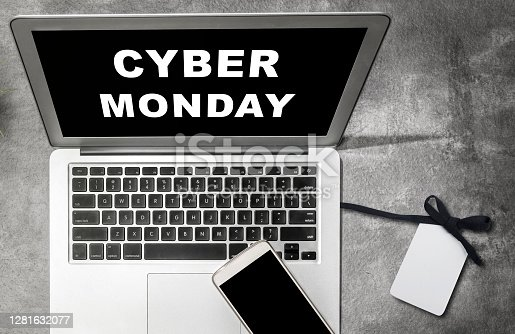 istock Cyber Monday advert on the laptop screen on the desk 1281632077