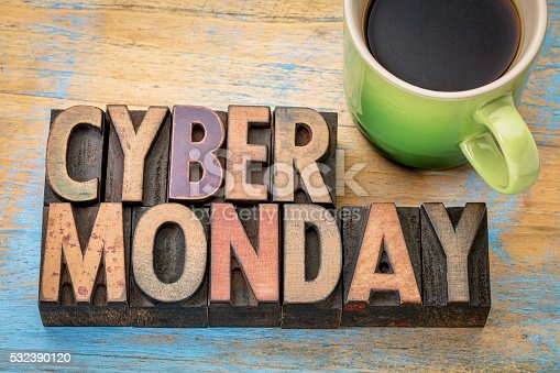 istock Cyber Monday in wood type 532390120