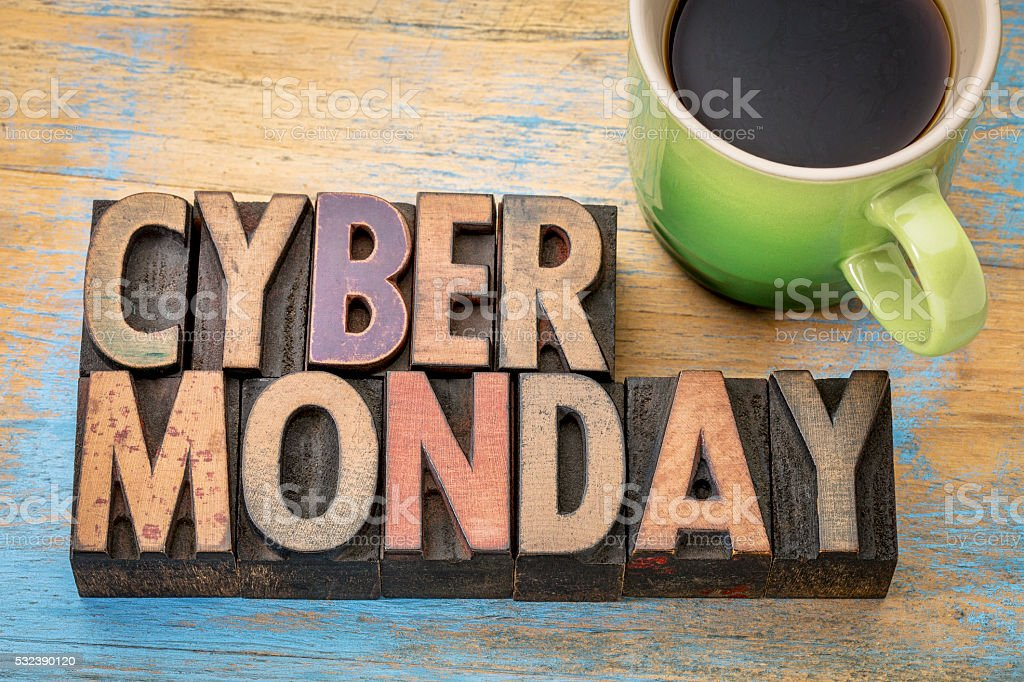 Cyber Monday in wood type stock photo