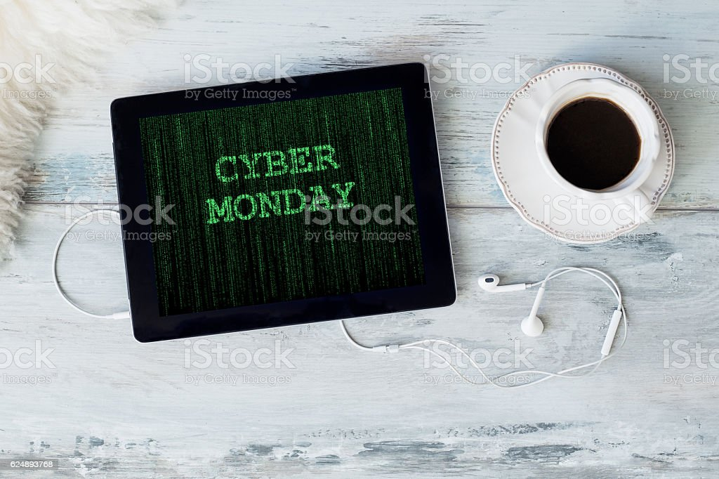 Cyber Monday on tablet computer stock photo