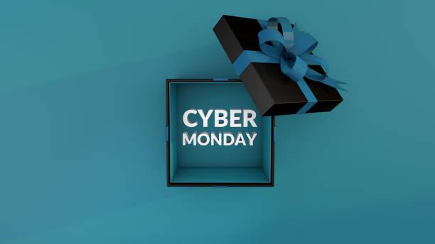 кибер понедельник из черного подарочного ящика. 3d рендер - cyber monday стоковые фото и изображения