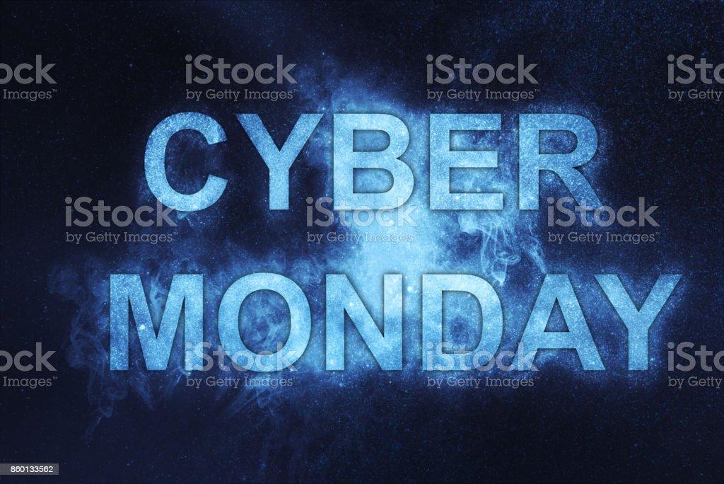 Cyber Montag Poster. Urlaub online-shopping-Konzept. – Foto