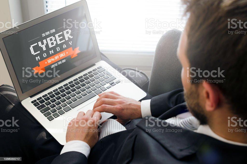 Cyber Monday promotion sale on laptop stock photo