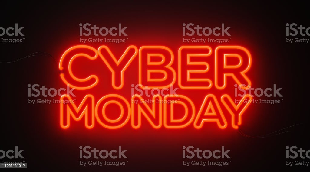 Cyber Monday Red Neon Light On Black Wall - Cyber Monday Concept - Стоковые фото Без людей роялти-фри